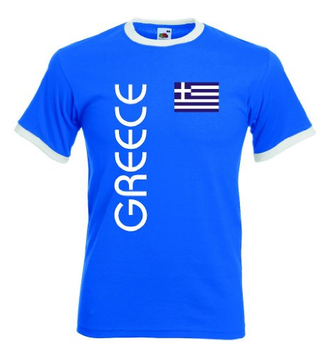 Fruit of the Loom Griechenland Greece Herren Retro T-Shirt blauweiss Trikot|r-XL