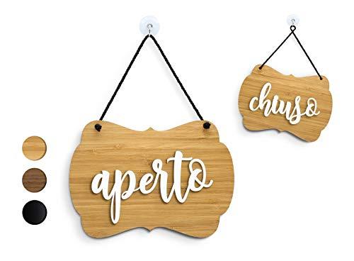 3DP Signs - Cartello Aperto/Chiuso a Rilievo [OC08] Shabby Chic Italiano Aperto/Chiuso per Porta vetrina Ingresso di Bar, Pub, Ristorante o Negozio
