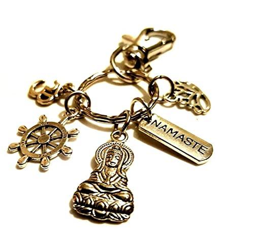 Shiva Om Namaste Lotus Dharma Wheel Love Hindu Diwali Regalo Llavero Seikh Buddha Hinduism Bag Charm Yoga Yogi Llavero Shaivism Mahadeva Regalo