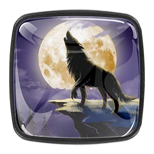 Paquete de 4 pomos para cajones de aparador, tiradores de cocina, pomos de cristal para gabinetes de cocina, aparador, armario, lobo, luna