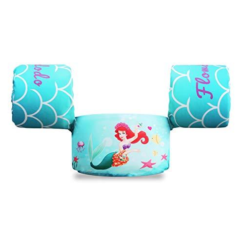 Flowdodo 30-50 Pounds Baby Swim Aid Floater Toddler Life Jacket Kids Swim Life Vest Kids Swimming Floats Vest for Kids Aqua Little Mermaid