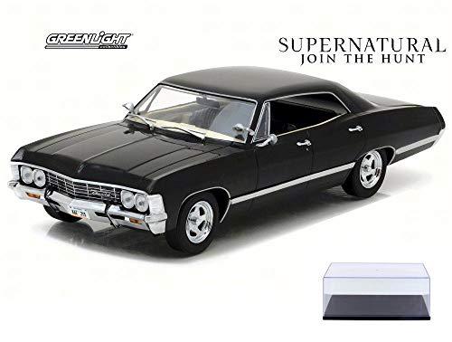 Diecast Car & Display Case Package - 1967 Chevy Impala Sport Sedan, Supernatural - Greenlight 84032 - 1/24 Scale Diecast Model Toy Car w/Display Case