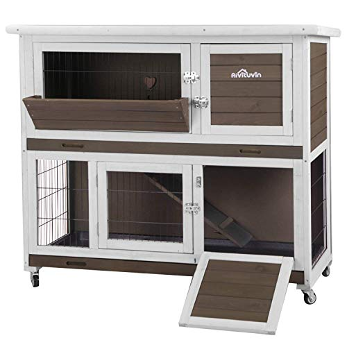 "Aivituvin Rabbit Hutch Indoor 47"" Outdoor Bunny Cage on Casters with 2 Story Guinea Pig Cage,Deep No Leakage Pull Out Tray"