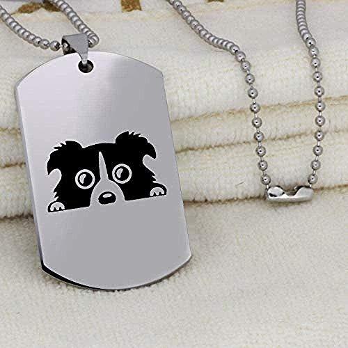 banbeitaotao Collar Etiqueta de Perro Colgante Neckalce Joyas de Acero Inoxidable para Hombres Collar Llamativo para Amantes de los Perros