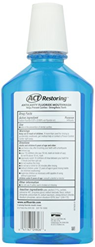 ACT Restoring Mouthwash Cool Splash Mint 33.8 Ounce Helps Freshen Breath & Strengthen Tooth Enamel to Prevent Tooth Decay & Cavities