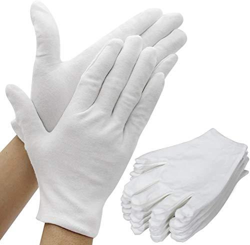 Baumwollhandschuhe Weiß, 12 Paar Stoff Handschuhe Weiss, Care Baumwollhandschuhe, Bequem und Atmungsaktiv, für Hautpflege, Schmuck Untersuchen, Tägliche Arbeit usw