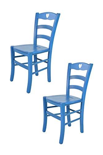 Tommychairs - Set 2 sedie modello Cuore per cucina bar e sala da pranzo, robusta struttura in legno di faggio verniciata in anilina blu e seduta in legno