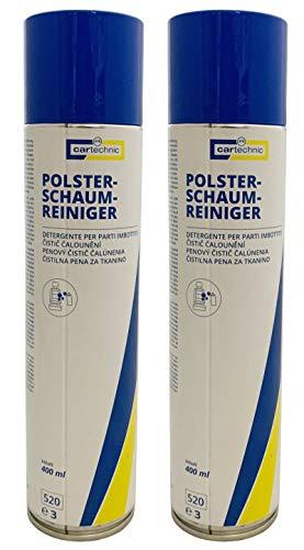 2x cartechnic Polster-Schaum-Reiniger 400ml, Polsterreiniger für Auto und Haushalt mit Aktivschaum, Reiniger für Polstermöbel