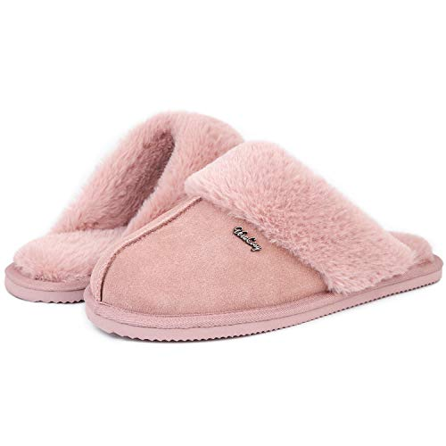 VeraCosy Damen Hübsche Leder Hausschuhe, warme Fell Pantoffeln mit Memory Foam Rosa,38/39 EU