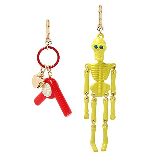 Betsey Johnson Pendientes de esqueleto, talla única