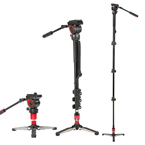 DAUERHAFT Cámara DSLR Monopie Monopie -75 / + Rango de inclinación de 90 °, para cámara sin Espejo/DSLR/videocámara/estabilizador