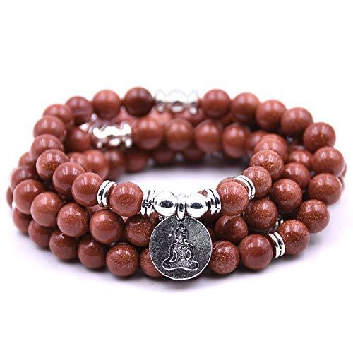 JJDSL stenen armband, bruin natuursteen 108 Mala standbeeld hanger bedeltjes ketting armbanden & Bangles mannen geschenken