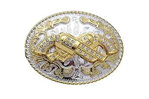 TFJ Men Cowboys Western Fashion Belt Buckle Silver Metal Gold Revolver Pistol Gun Handgun Filigree