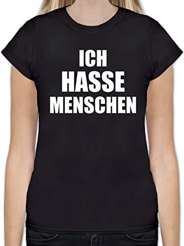 Sprüche - Ich Hasse Menschen - L - Schwarz - Motto Shirt Damen - L191 - Tailliertes Tshirt für Damen und Frauen T-Shirt