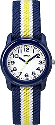 Timex Boys TW7C05800 Time Machines Blue/Yellow Stripes Elastic Fabric Strap Watch from Timex