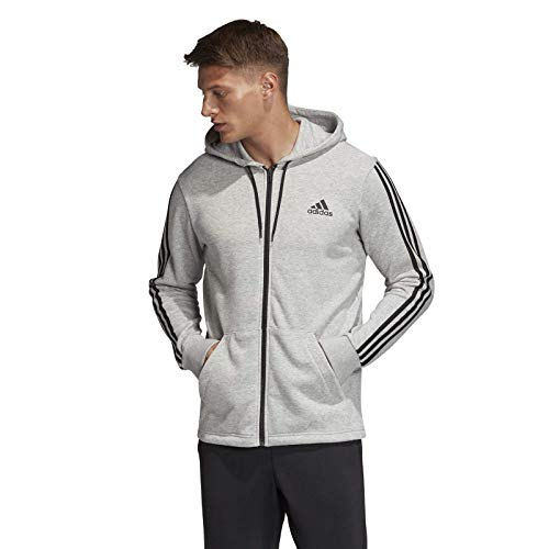 Adidas Must Have 3-Stripes French Terry Hoddie Men Sudadera con Capucha y Cremallera, Hombre, Gris (Medium Grey Heather/Black), M