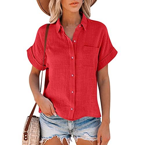 Dasongff Blouses Chemisier décontracté à Manches Courtes pour Femmes Couleur Unie Élégant T-Shirt à col en V avec Boutons Tops Chemise Basique Ample