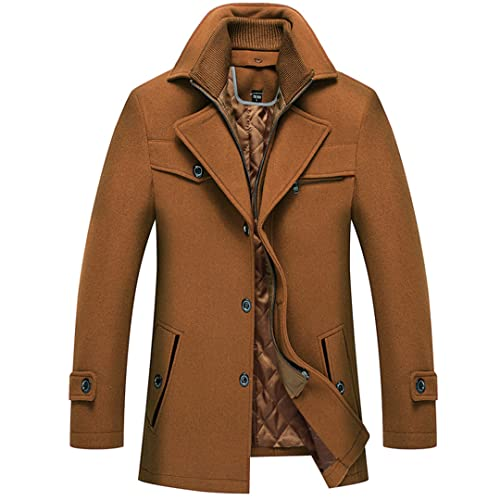 wkd-thvb Otoño Lana Chaqueta Invierno Hombre Abrigo Largo Hombres Color Sólido Doble Collar Espesado Lana Capa, caqui, XXL