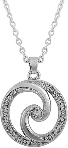 LKLFC Collar para Mujer Collar para Hombre Colgante Collar de Cristal para Hombre Rinestone Accent Yin Yang Tai Chi Símbolo en círculo Collar Colgante 18 Collar Colgante Regalo para niñas niños