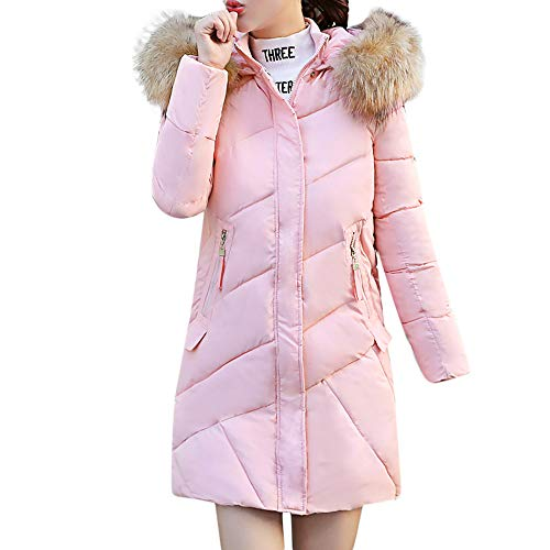 Review Women Winter Warm Hooded Thick Coat Overcoat Casual Slim Down Jacket Long Outwear Parka Trench Coat D-Pink