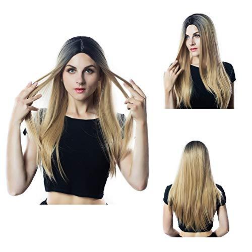 Les femmes de longue perruque cheveux raides, robe de femmes perruque dégradé d'or, perruque de fibres chimiques réalistes duveteux naturel