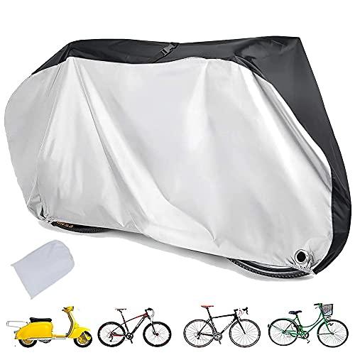 Funda para Bicicleta Exterior, 190T Funda para Bicicleta Impermeable, a Prueba de Viento, UV, con Orificio de Bloqueo, Bolsa de Almacenamiento para Bicicletas de montaña y Carretera (L)