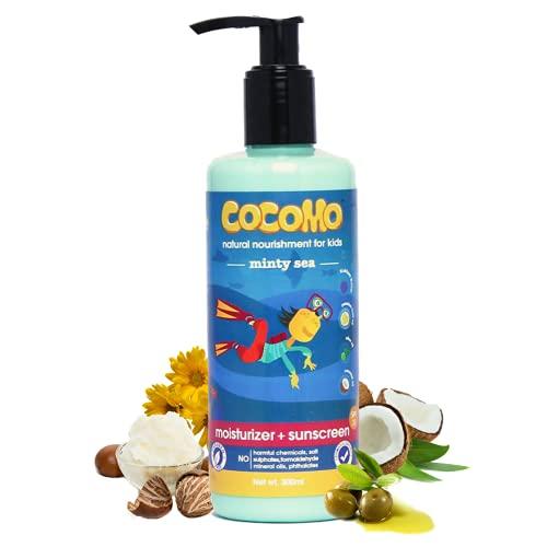 Cocomo Natural Kids Moisturizer + Sunscreen Lotion, Shea & Kokum Butter, SPF 15, Minty Fragrance, Gentle Daily Use, Minty Sea 300ml (Age: 4+)