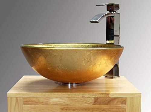 Home Supplies Lavello in vetro da appoggio, colore oro