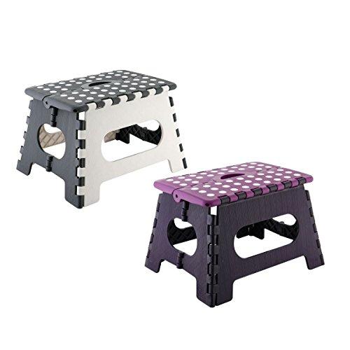 axentia Klapphocker, aus Kunststoff, Faltbarer Tritthocker stabil bis 150 kg, farblich sortiert