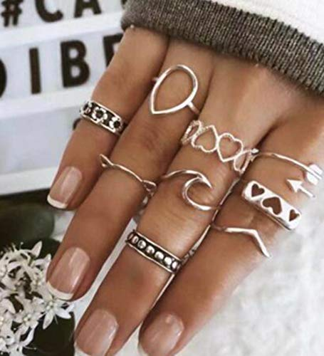 BERYUAN Women Rings Size 6 7 8 9 10 Vintage Silver Rings Set Cute Wave Teardrop Love Knuckle Rings Gift for Her Lovely Ring Set for Women and Girls Teens(9Pcs )