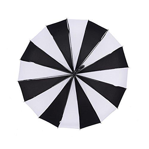 Zwarte en witte gestreepte pagode paraplu rechte lange handvat paraplu creatieve bruiloft fotografie paraplu