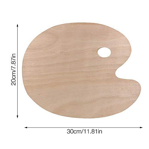 IWILCS Paleta de pintura de 2 piezas, paleta de pintura de madera, paleta de pintura al óleo con orificio para el pulgar para pintura al óleo de acuarela acrílica en forma ovalada, 300 mm * 200 mm