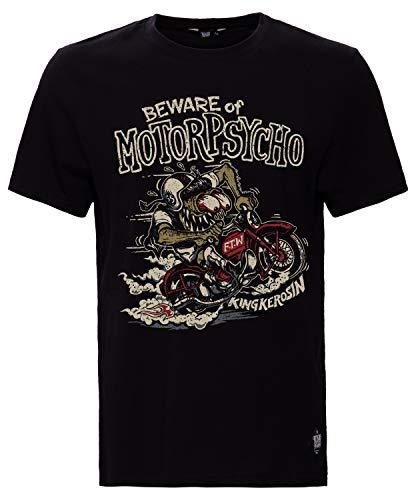 King Kerosin Motorpsycho Camiseta, Negro, XL para Hombre
