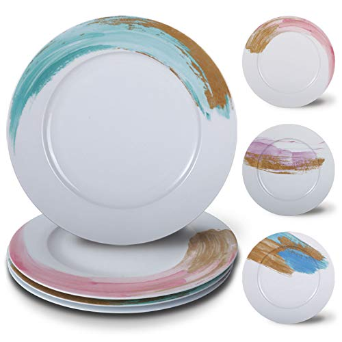 Biching Dinner Plates,10.5 Inch Dinnerware Plates Set,Assorted Watercolor,Porcelain Set of 4