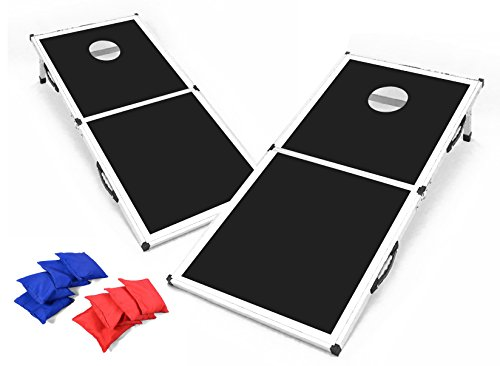 Backyard Champs Corn Hole Outdoor Game: 2 Regulation Cornhole Boards and 8 Bean Bags, 2 x 4 Foot, Aluminum Frame with MDF Board