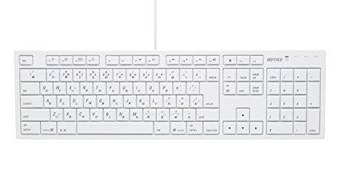 iBUFFALOフルキーボードUSB接続パンタグラフMacモデルホワイトBSKBM01WH
