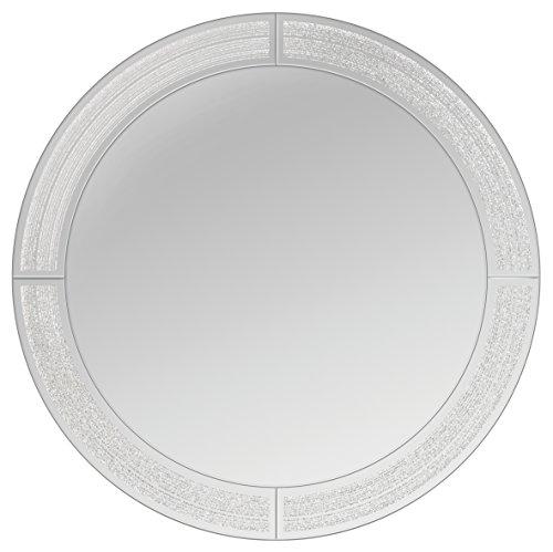 Innova spiegel van glas, rond, diameter 50 cm, glitter Ascot, zilver