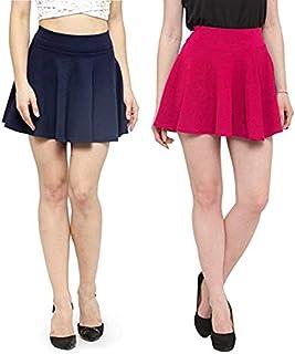 Fraulein Women's/Girl's Mini Skirt Skater High Waist Flared Silhouette Stretchable Material_Combo