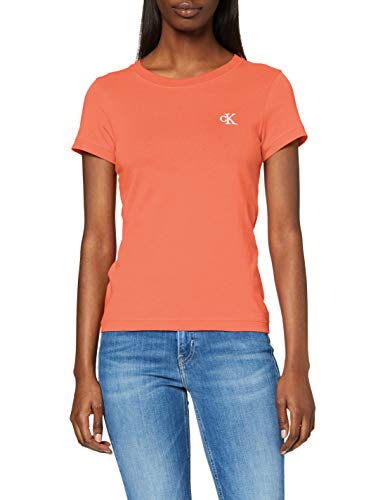 Calvin Klein Jeans Damen Ck Embroidery Slim Tee Hemd, Orange, XS