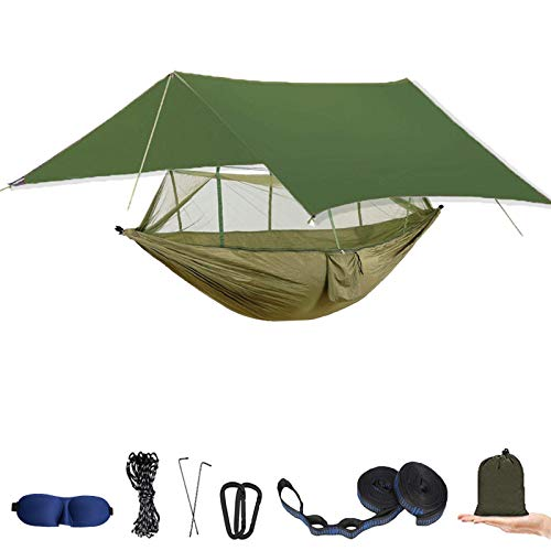 Camping Hammock with Mosquito Net and Rain Fly - Portable Travel Hammock Bug Net - Camping Equipment - Hammock Tent for Outdoor Hiking Campin Backpacking Travel (Army Green)