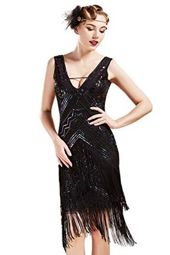 BABEYOND 1920s Kleid Damen Flapper Charleston Kleid Sexy V Ausschnitt Great Gatsby Motto Party Damen Fasching Kostüm Kleid (SchwarzBunt XXXL)