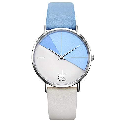 SHENGKE Damen Armbanduhr Kreative Frauen Uhren Marke Uhr Frauen Mesh Kleid Uhr Echtes Leder (K0095-Blue&White)