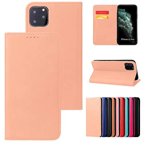 Funda para iPhone 11 Pro Max, con tapa magnética sin lengüeta, modelo de teléfono compatible con iPhone 11 Pro Max, color beige