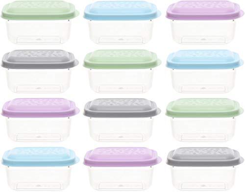 idea-station contenitori per Alimenti 12 Pezzi, 250 ml, Pastello, Copertura, Contenitore plastica, Barattolo plastico, Scatola, vaschette, Porta Pranzo, Box plastica, Lunch Box