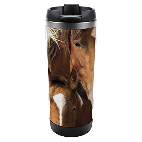 Taza aislada Taza de acero inoxidable con tapa Taza a prueba de fugas Taza de café aislada para caballos y potros