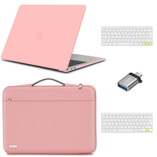 TECOOL Custodia MacBook Air 13 Pollici 2020 2019 2018 (A2337 M1/A2179/A1932),Custodia Plastica Rigida & Custodie morbide & Tastiera Cover & Adattatore USB per Mac Air 13.3 Touch ID - Rosa & Rosa
