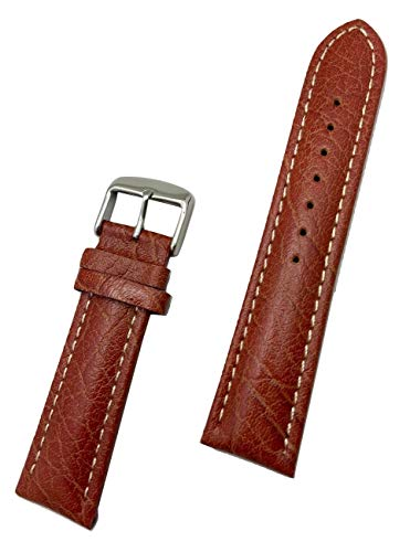 22mm Honey Brown Genuine Leather Watch Band | Buffalo Grain, Sportily Padded Replacement Wrist Strap with Creamy White Stitches that brings New Life to Any Watch (Mens Standard Length)