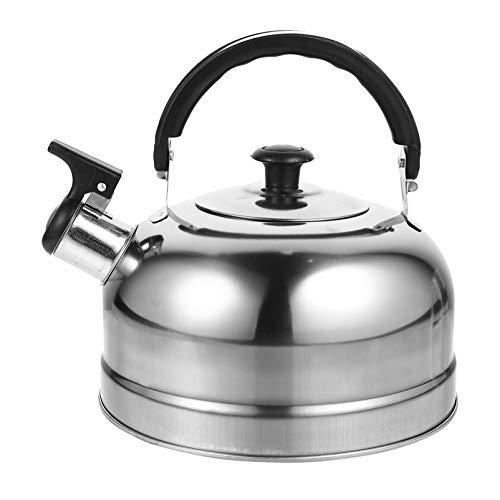 Cabilock Pfeifender Wasserkessel 2L Edelstahl Teekanne Wasserkocher Pfeifkessel Pfeifenkessel Induktion Teekessel Flötenkessel für Küche Zuhause Gas Herd Camping Gasherd