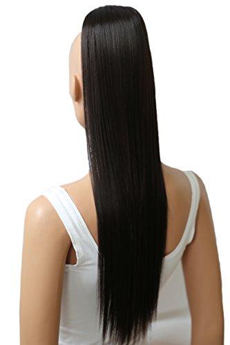 PRETTYSHOP 60cm Haarteil Zopf Pferdeschwanz Haarverlängerung Glatt Dunkelbraun H602