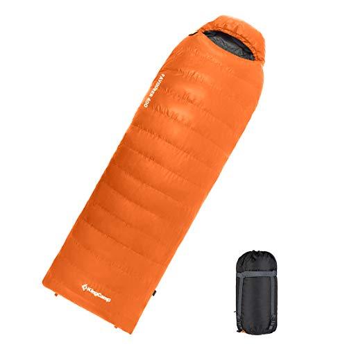 KingCamp(キングキャンプ)高級ダウン 寝袋 封筒型 天然羽毛シュラフ 超暖かい 超軽量 収納袋付き [最低使用温度-12℃] (オレンジ)